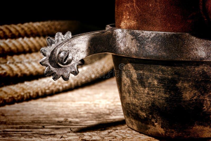 De Amerikaanse Laars van de Cowboy van de Rodeo van het Westen en Westelijke Aansporing royalty-vrije stock afbeelding