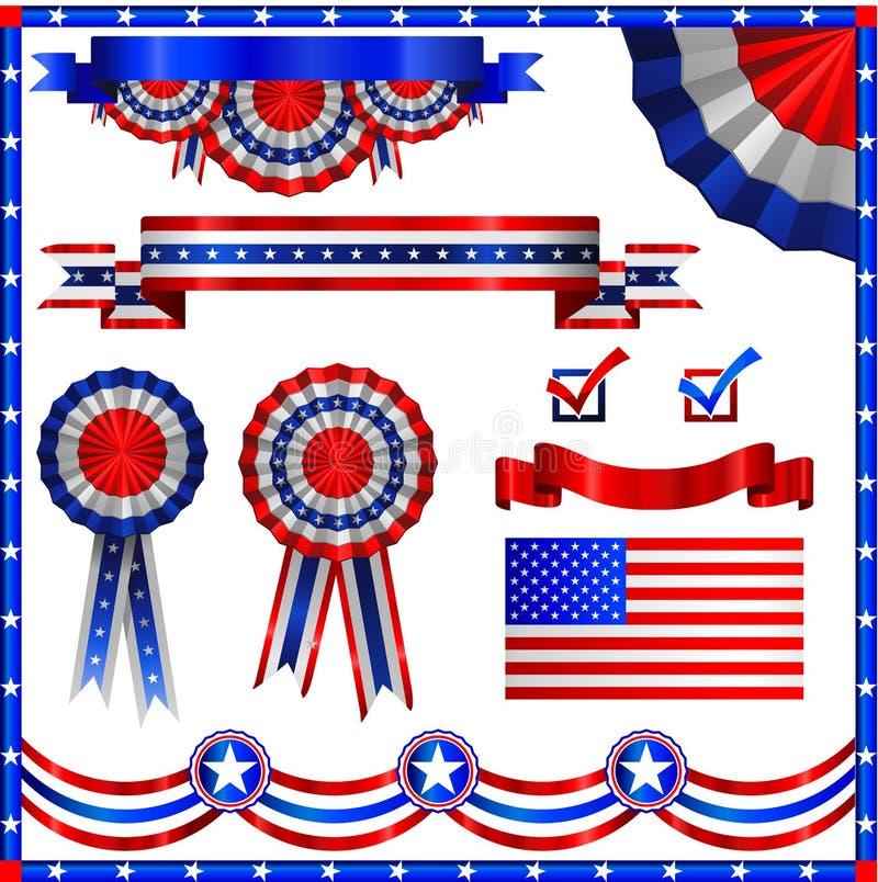 De Amerikaanse patriottische elementen van de V.S. vector illustratie