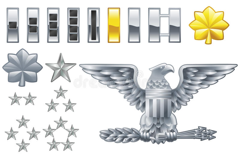 De Amerikaanse pictogrammen van de rangeninsignes van de legerambtenaar stock illustratie