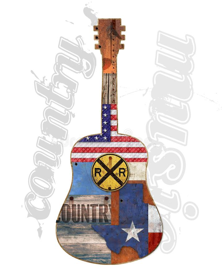 Download De Amerikaanse Plattelander Van De Country Muziekgitaar Stock Illustratie - Illustratie bestaande uit koel, wegrestaurant: 107700521