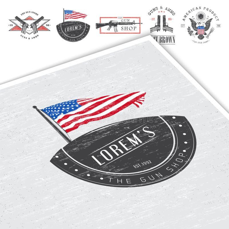 De Amerikaanse reeks van de kanonwinkel Vuurwapensopslag De jachtkanon Gedetailleerde elementen Typografische etiketten, stickers vector illustratie