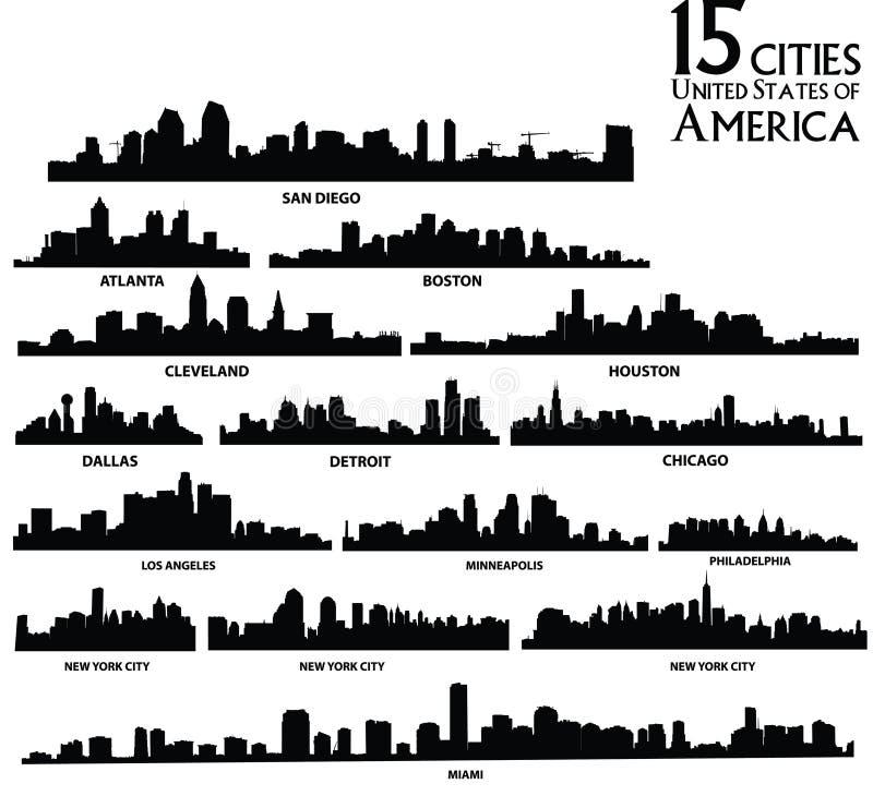 De Amerikaanse reeks van de stedenhorizon royalty-vrije stock afbeelding