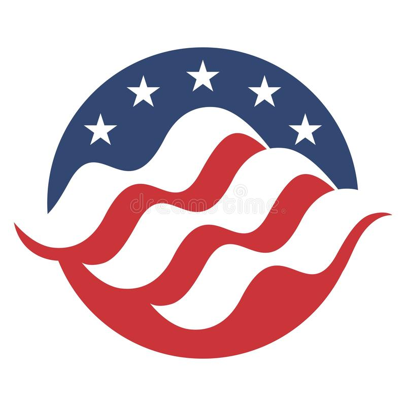 De Amerikaanse Samenvatting van de Vlagcirkel royalty-vrije illustratie