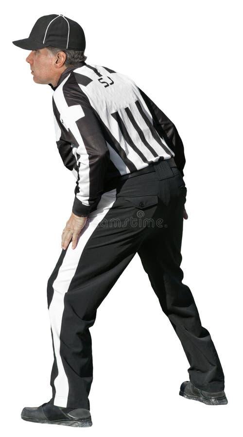 De Amerikaanse Scheidsrechter Van De Voetbal NFL Die Op Wit Wordt Geïsoleerd Stock Afbeelding