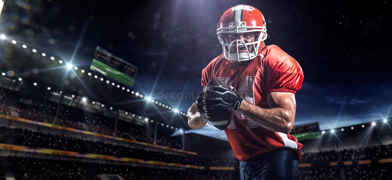 De Amerikaanse speler van de voetbalsportman in stadion stock fotografie