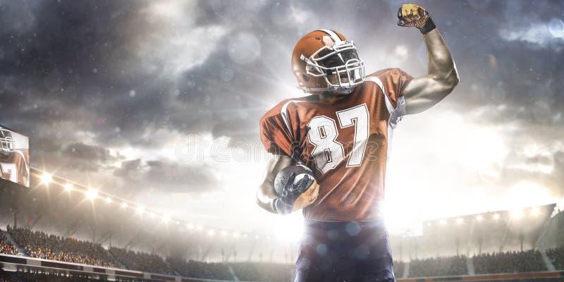 De Amerikaanse speler van de voetbalsportman in stadion stock afbeeldingen