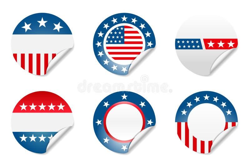 De Amerikaanse stickers van de verkiezingscampagne stock illustratie