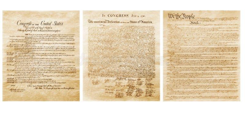 De Amerikaanse Vlag en de Grondwet royalty-vrije stock afbeelding