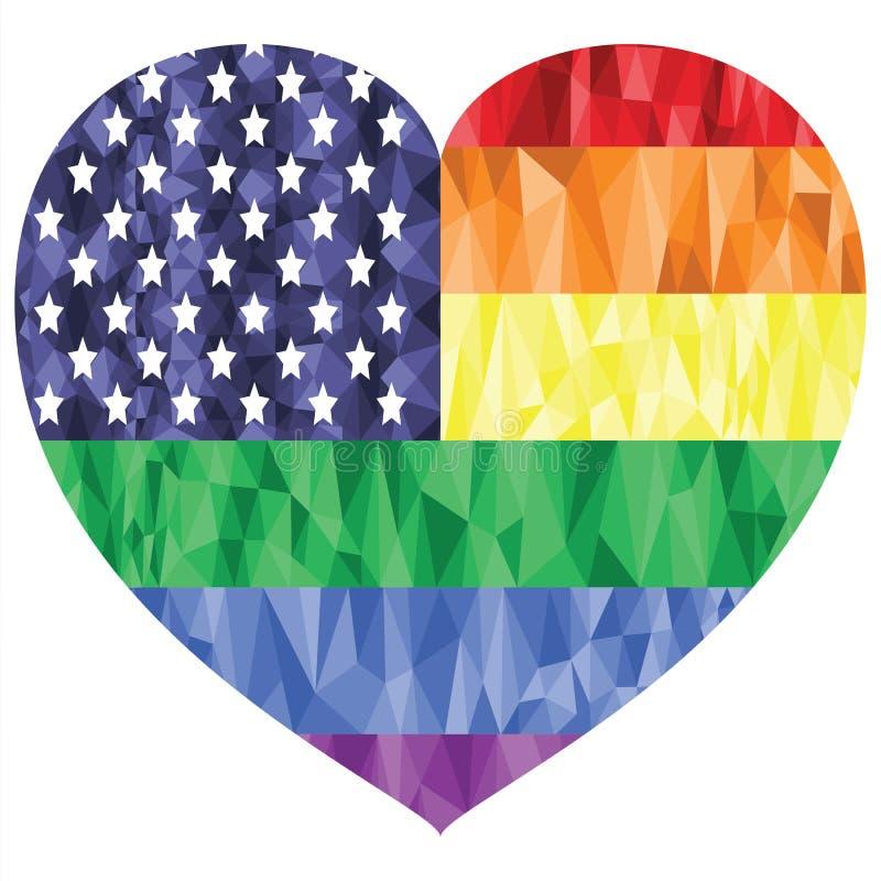De Amerikaanse Vlag op de Regenboogachtergrond met laag polykunsteffect in de hartvorm die vrolijke mensen vertegenwoordigen houd vector illustratie