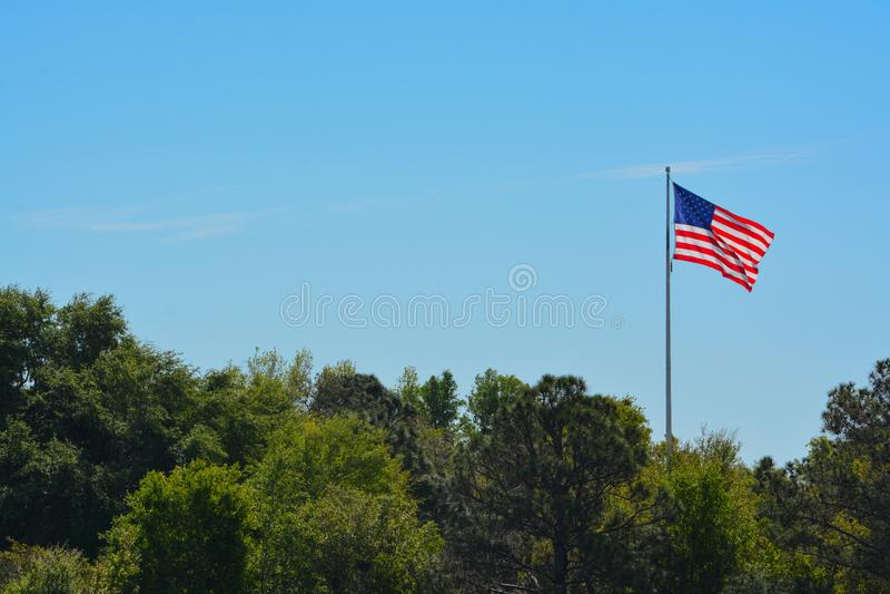 De Amerikaanse Vlag, de Sterren en de Strepen, het Rood, het Wit en het Blauw stock afbeeldingen