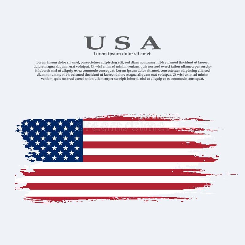 De Amerikaanse vlag van Grunge Vectorvlag van de V.S. royalty-vrije illustratie