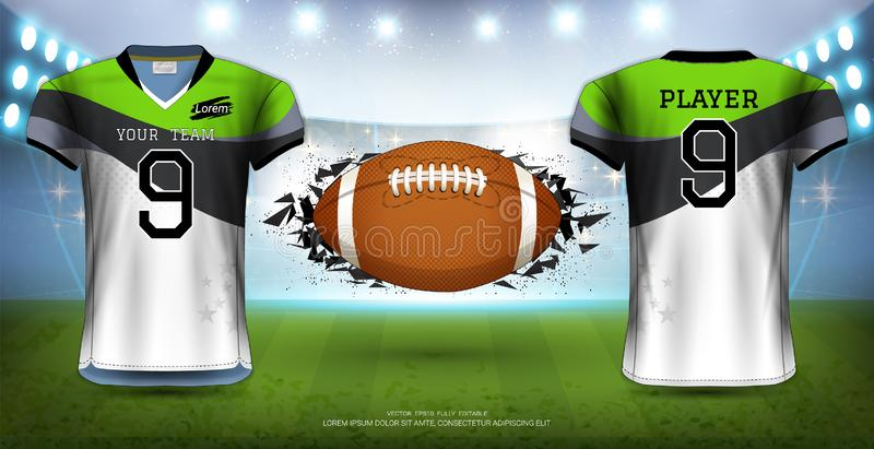 De Amerikaanse Voetbal, Rugby of Voetbaluniformen van Jerseys vector illustratie