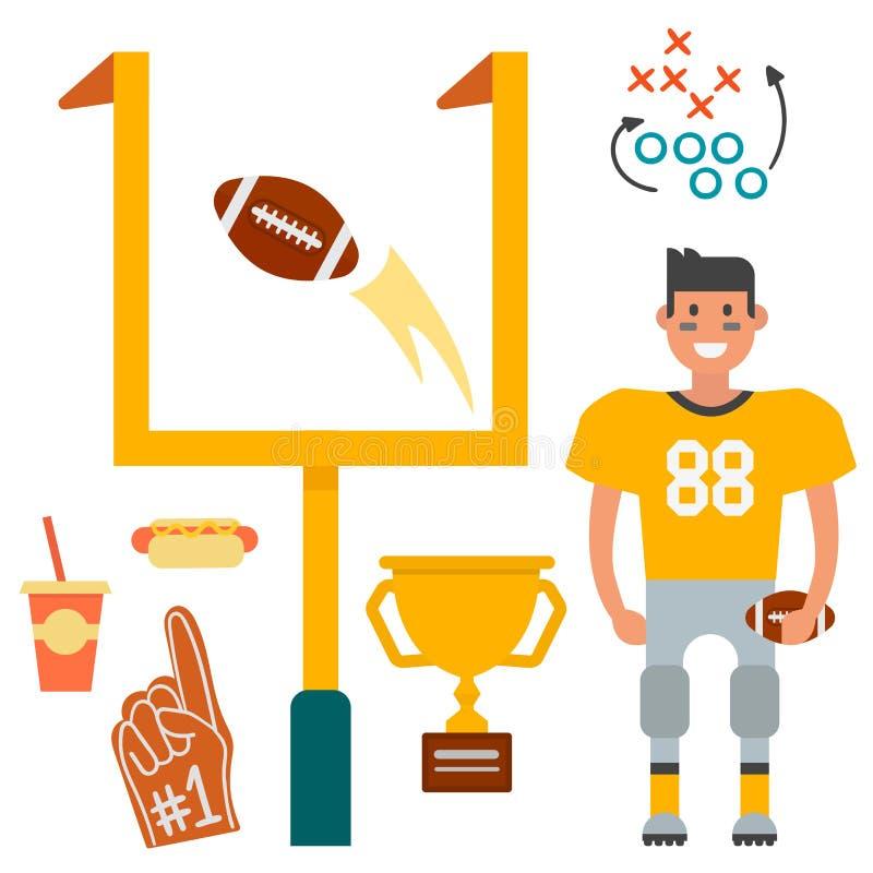 De Amerikaanse voetbalster en sport van de het beeldverhaalstijl van spelpictogrammen vector van het de strateeg springende succe royalty-vrije illustratie