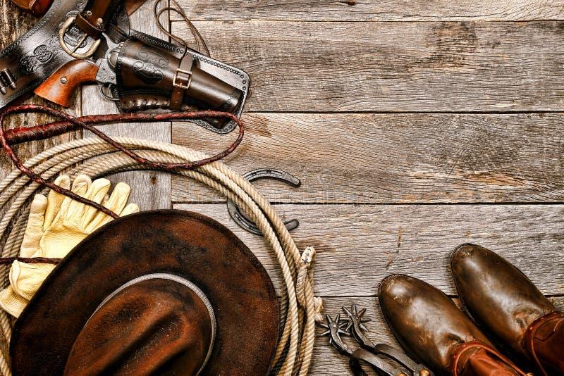 De Amerikaanse Westelijke Cowboy Ranching Gear van de het Westenlegende stock afbeeldingen