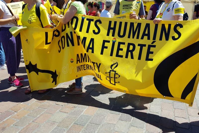 De Amnestie van Pride March en van mouvement internationaal in Toulouse, Frankrijk stock foto's