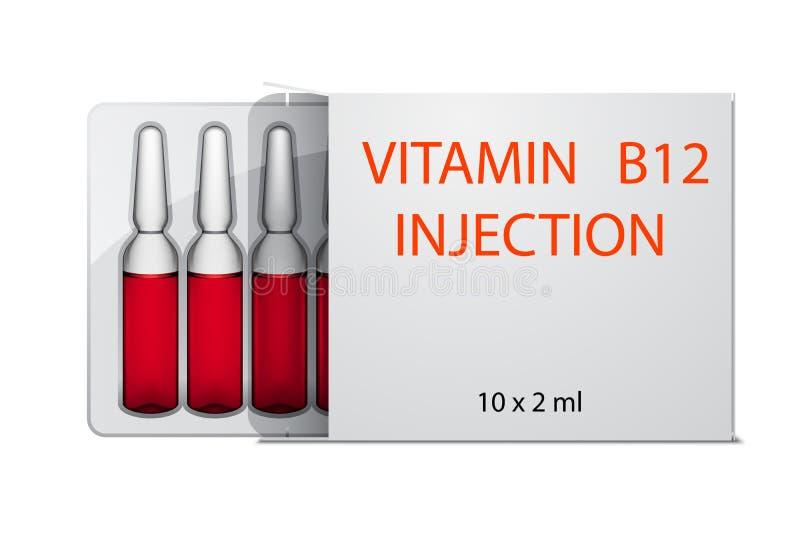 De ampullen van de vitamineb12 injectie in pakket, op wit wordt geïsoleerd dat royalty-vrije illustratie