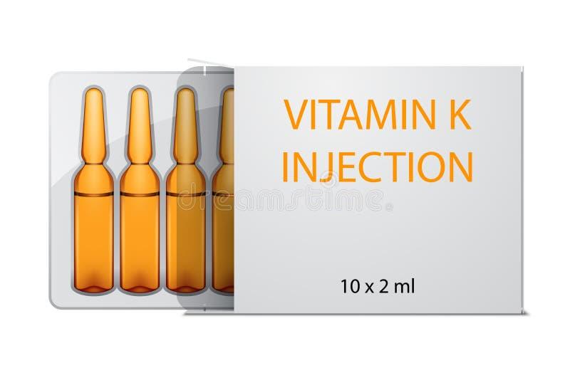 De ampullen van de vitaminek injectie in pakket, op wit wordt geïsoleerd dat royalty-vrije illustratie