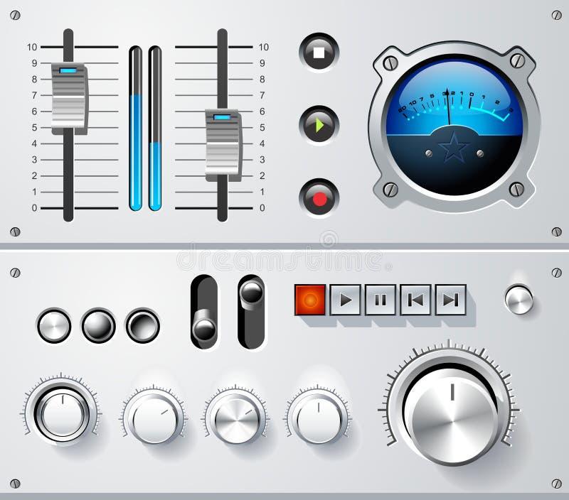 De analoge geplaatste elementen van de controlesinterface, vector vector illustratie