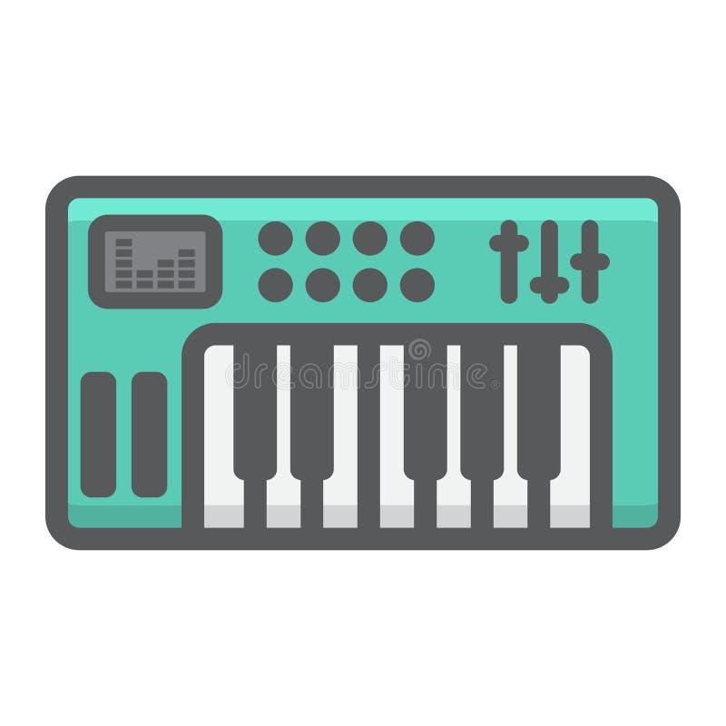 De analoge synthesizer vulde overzichtspictogram, muziek royalty-vrije illustratie