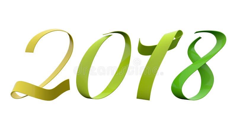 2018 de Analogie van nieuwjaarcijfers kleurt 135 Graden de Zachte Gele van het Aloë Groene Glanzende Metaallint Titel royalty-vrije illustratie