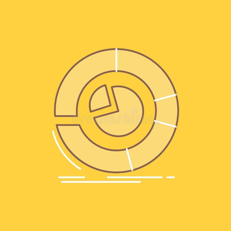 De analyse, analytics, zaken, diagram, cirkeldiagram Vlakke Lijn vulde Pictogram Mooie Embleemknoop over gele achtergrond voor UI royalty-vrije illustratie
