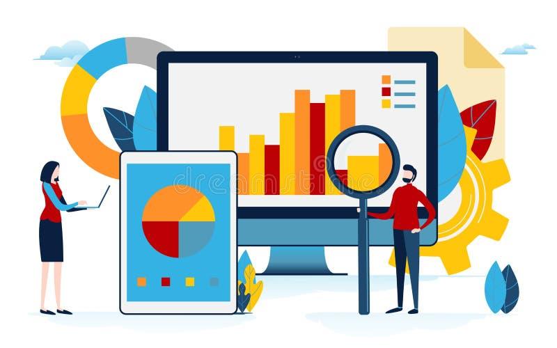 De analyse van gegevens Bedrijfsinhoud grafiek, cirkeldiagram, grafische informatie De vlakke grafische vector van de beeldverhaa royalty-vrije illustratie
