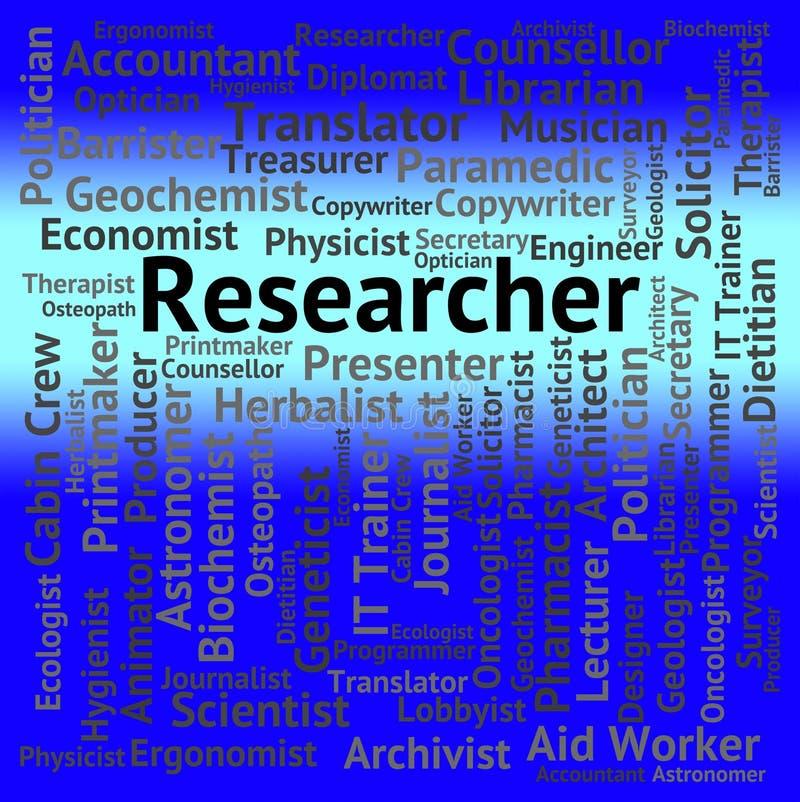 De Analyse van onderzoekersjob shows gathering data and royalty-vrije illustratie