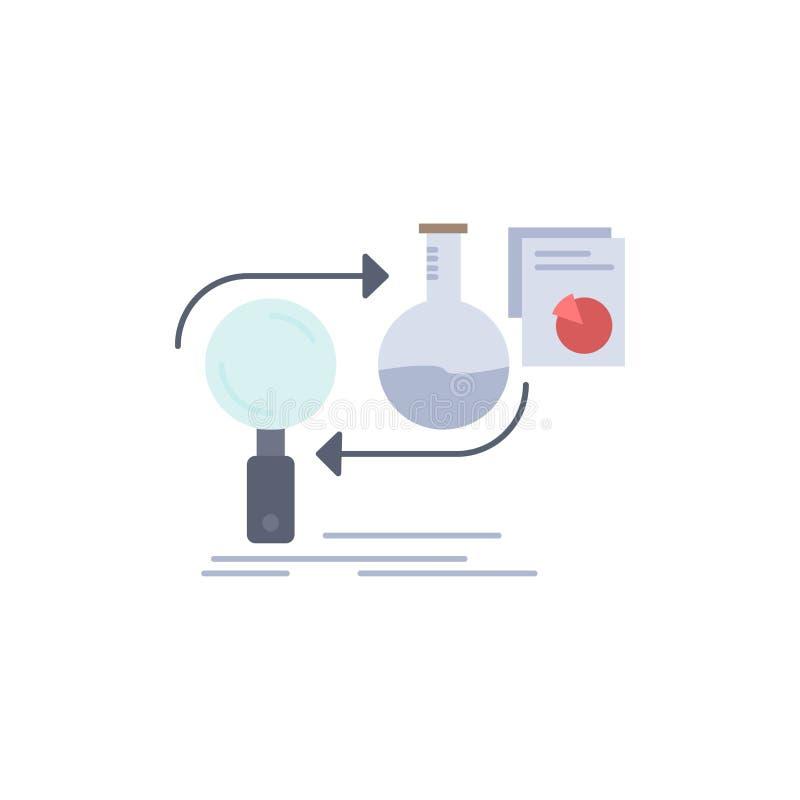 De analyse, zaken, ontwikkelt zich, ontwikkeling, het Pictogramvector van de markt Vlakke Kleur vector illustratie