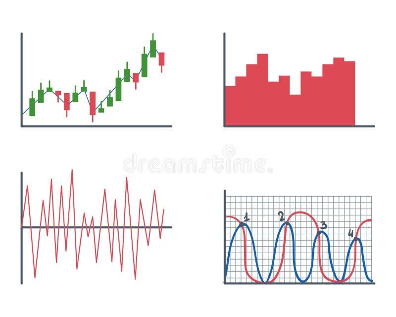 De analyticselementen van de bedrijfsgegevensgrafiek versperren cirkeldiagrammendiagrammen en de vlakke geïsoleerde presentatie v stock illustratie