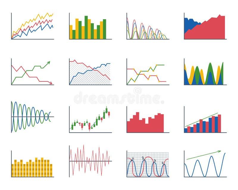 De analyticselementen van de bedrijfsgegevensgrafiek versperren cirkeldiagrammendiagrammen en de vlakke geïsoleerde presentatie v royalty-vrije illustratie