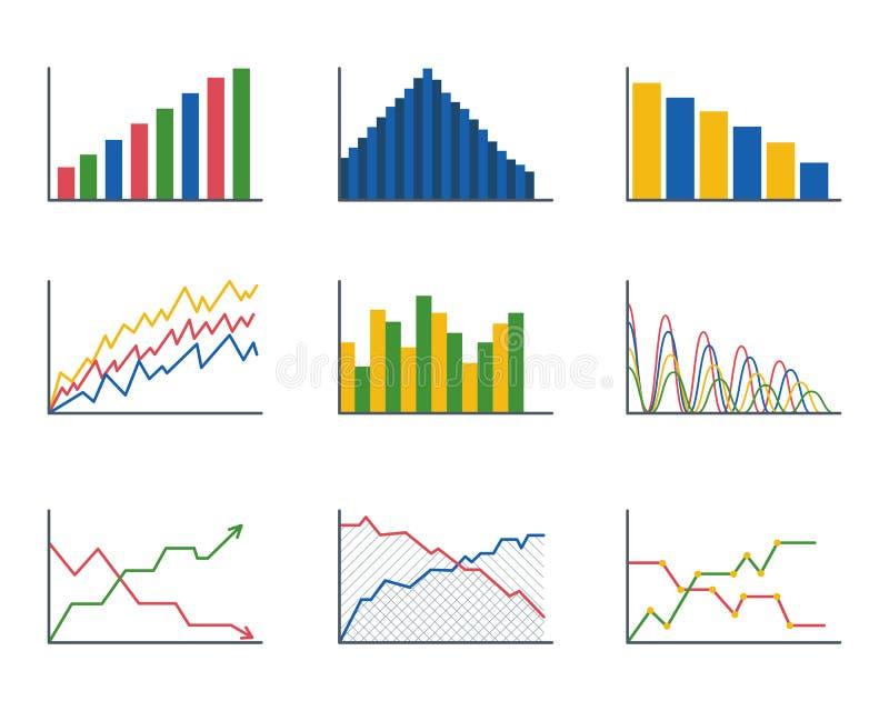 De analyticselementen van de bedrijfsgegevensgrafiek versperren cirkeldiagrammendiagrammen en de vlakke geïsoleerde presentatie v vector illustratie