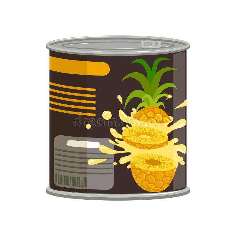 De ananasplakken in aluminium kunnen met ring-trekkracht Concept ingeblikt tropisch fruit Voedselbehoud Vlak vectorontwerp royalty-vrije illustratie