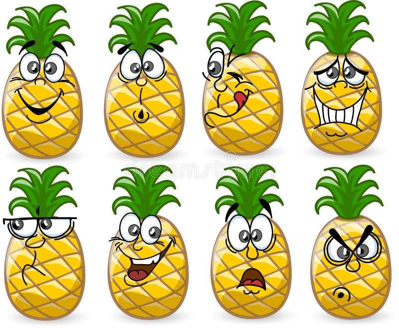 De ananassen van het beeldverhaal met emoties stock illustratie