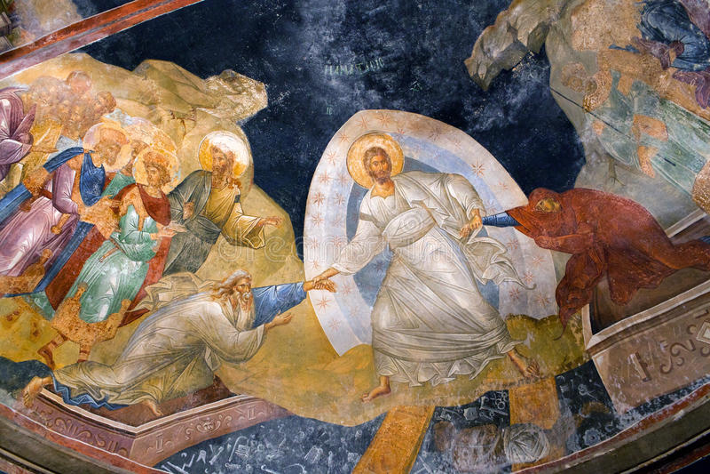 De Anastasis-fresko in het Kariye-Museum in Istanboel, Turkije stock foto's