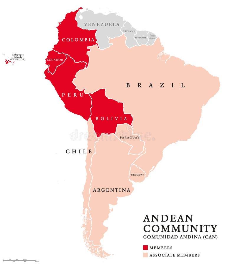 De Andes Communautaire kaart van landen stock illustratie
