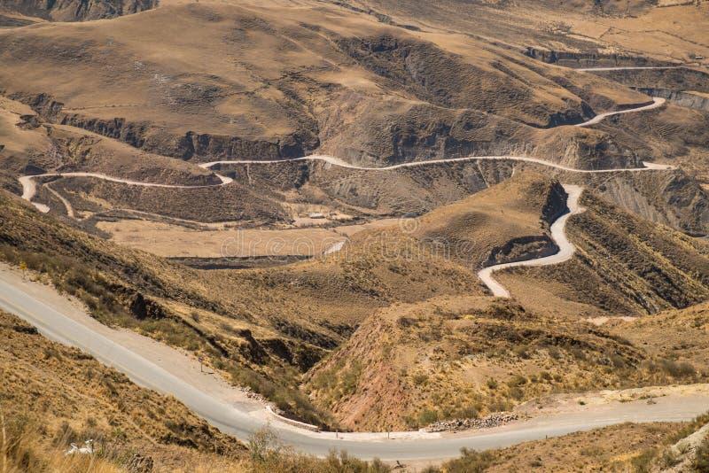 De Andesweg van de bergpas stock foto's