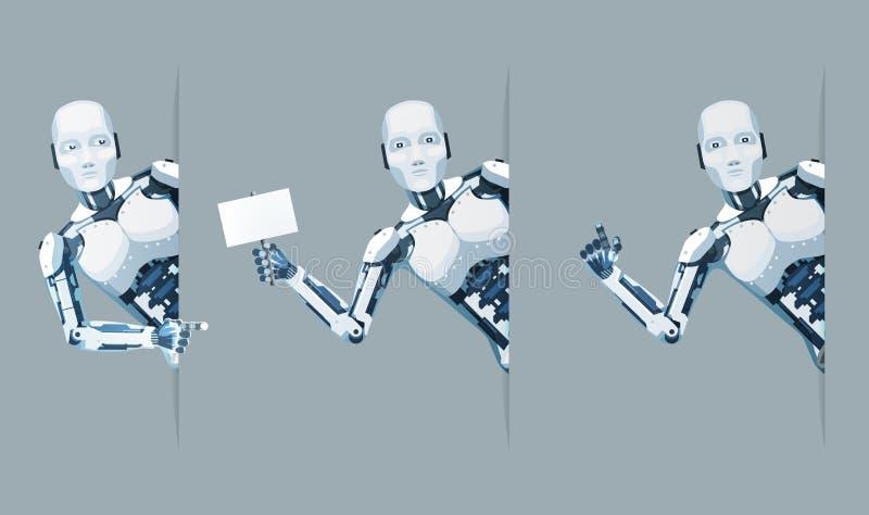 De Android do robô do olhar vetor futuro do projeto da venda 3d da ficção científica da tecnologia da ajuda online da mão do cart ilustração royalty free