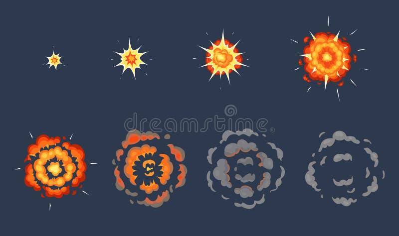 De animatie van de beeldverhaalexplosie De exploderende effect kaders, geanimeerd schot exploderen met vector de illustratiereeks royalty-vrije illustratie