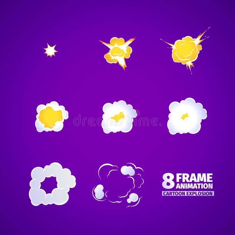 De animatie van het explosiebeeldverhaal vector illustratie