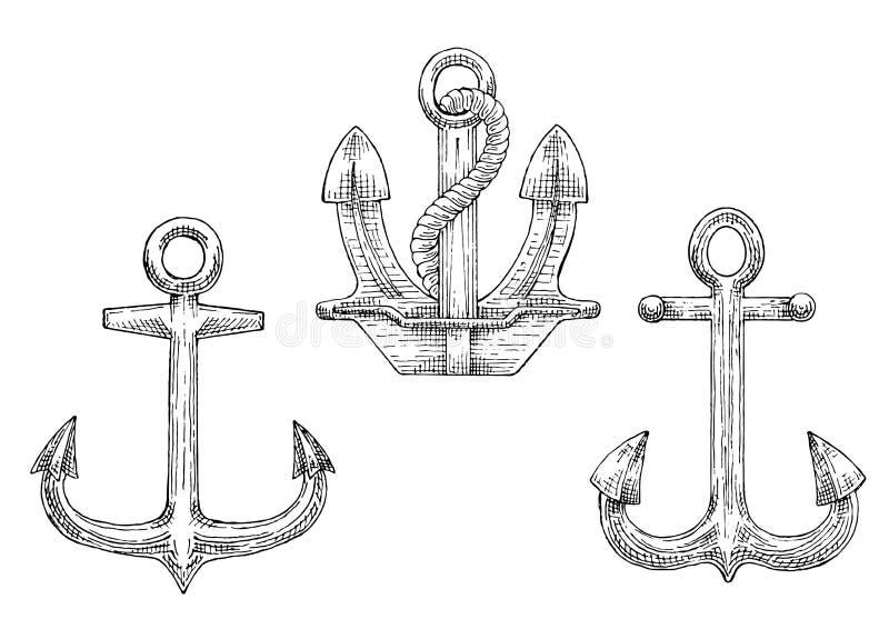 De ankers van het marineschip met de pictogrammen van de kabelschets royalty-vrije illustratie