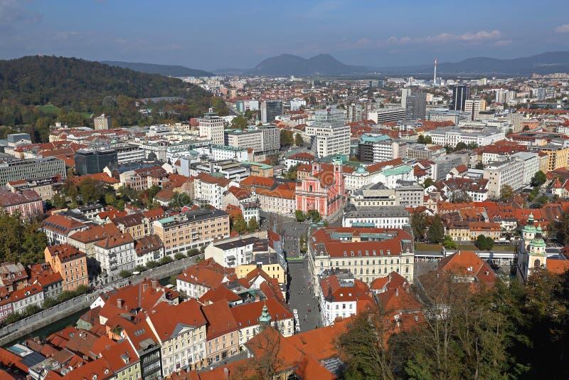 De antenne van Ljubljana stock afbeeldingen