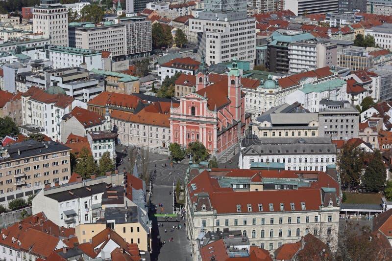 De antenne van Ljubljana stock foto