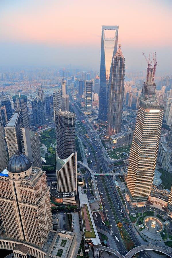 De antenne van Shanghai bij zonsondergang royalty-vrije stock fotografie