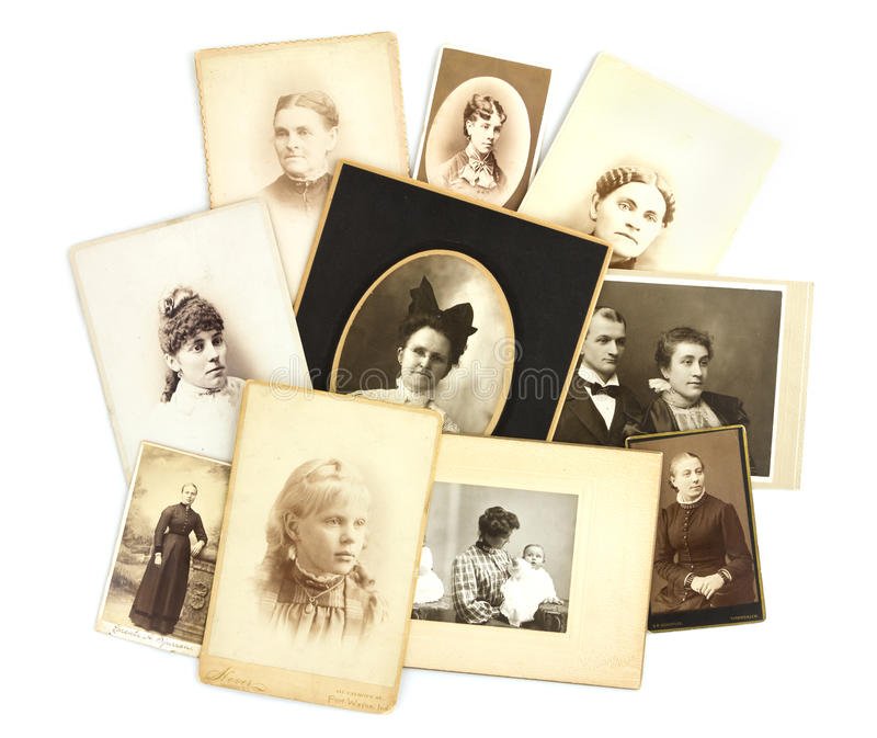 De antieke Collage van Foto's op Witte Achtergrond stock foto's