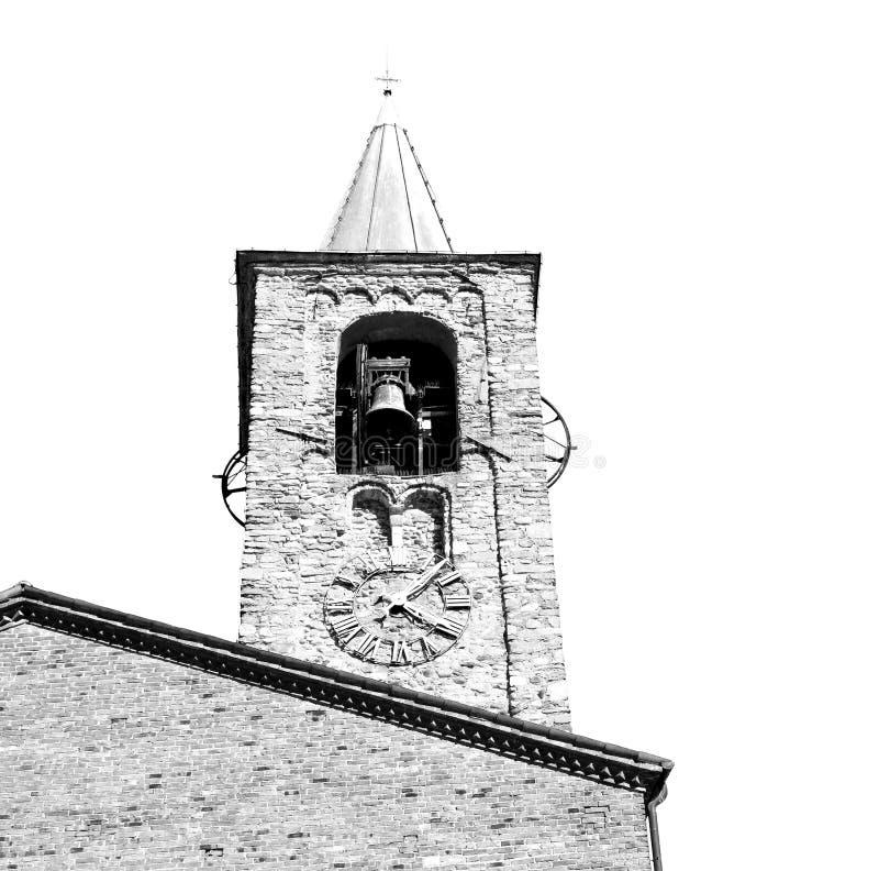 de antieke de bouwklokketoren in de oude steen van Italië Europa en is royalty-vrije stock afbeelding