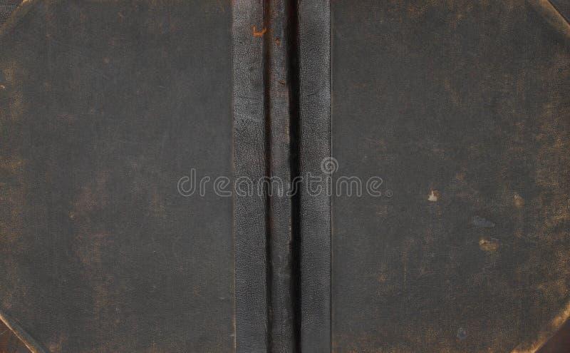 De antieke dekking van het leerboek. stock afbeeldingen