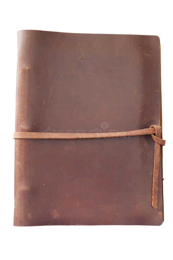 De antieke dekking van het leerboek stock afbeeldingen