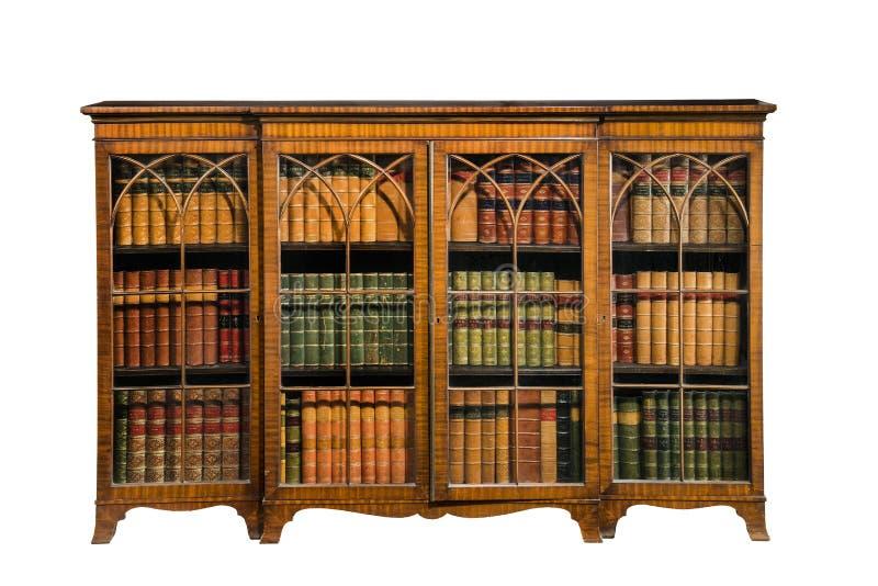 De antieke die wijnoogst van het boekenkastkabinet met glasdeuren op wh worden geïsoleerd royalty-vrije stock foto