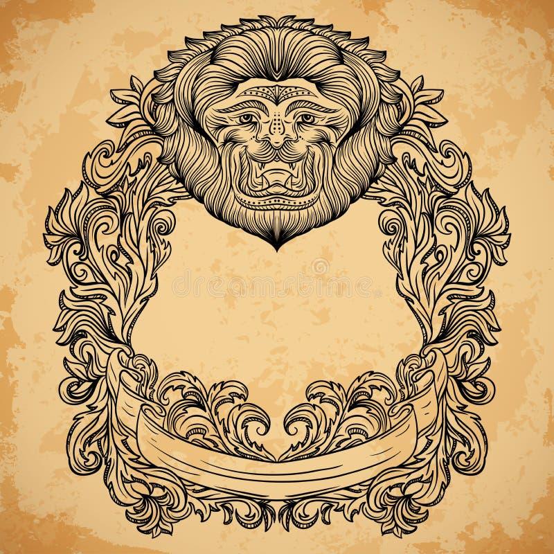 De antieke gravure van het grenskader met ornament van de leeuw het hoofd en barokke cartouche royalty-vrije illustratie