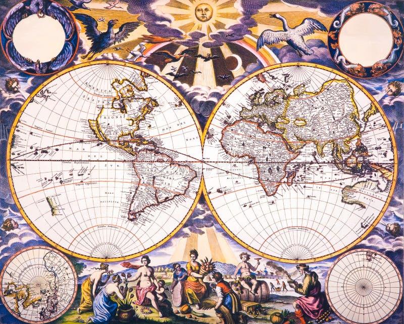 De Antieke Kaart van de wereld royalty-vrije stock foto's